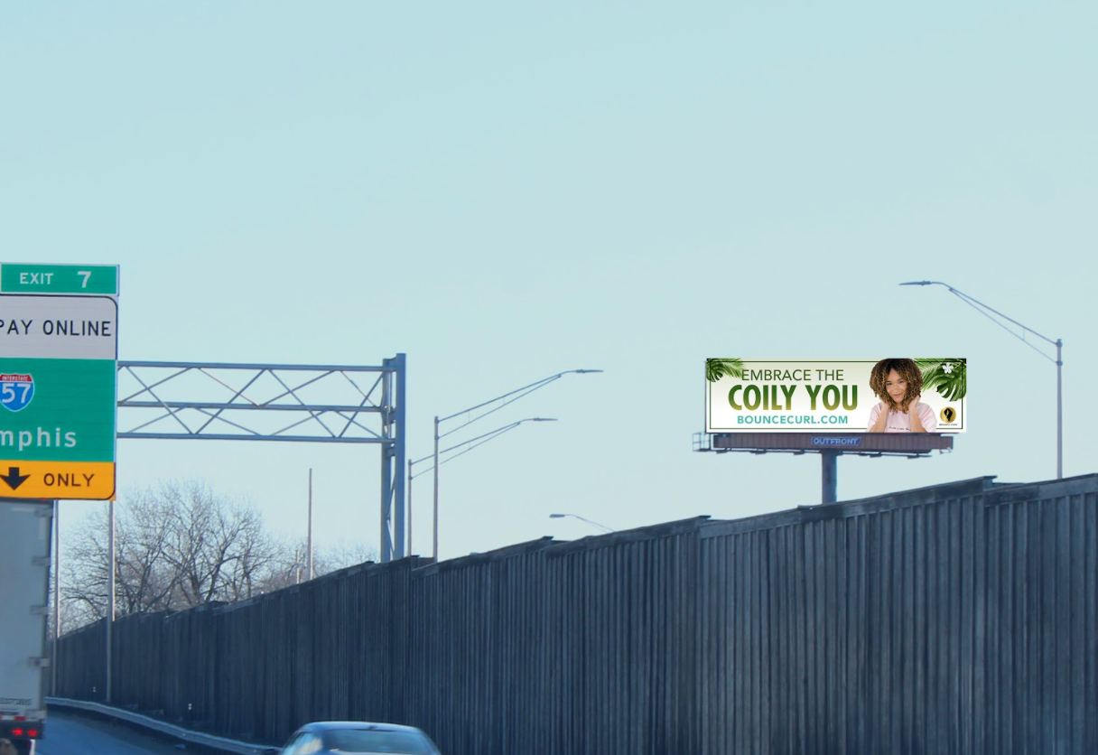Bounce Curl Billboard creative for coily hair