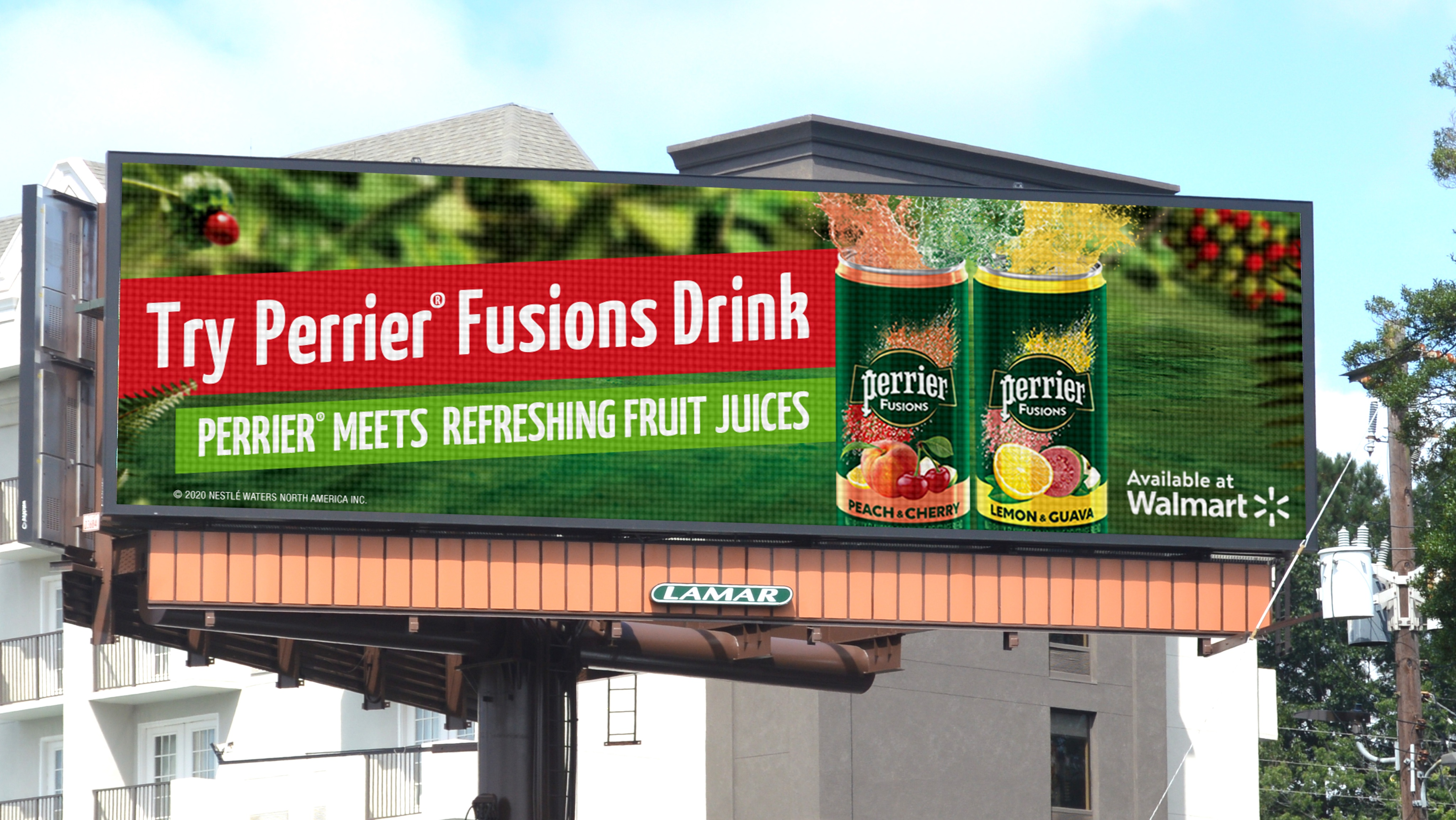 Lamar billboard with Nestlé Perrier Fusions advertisement