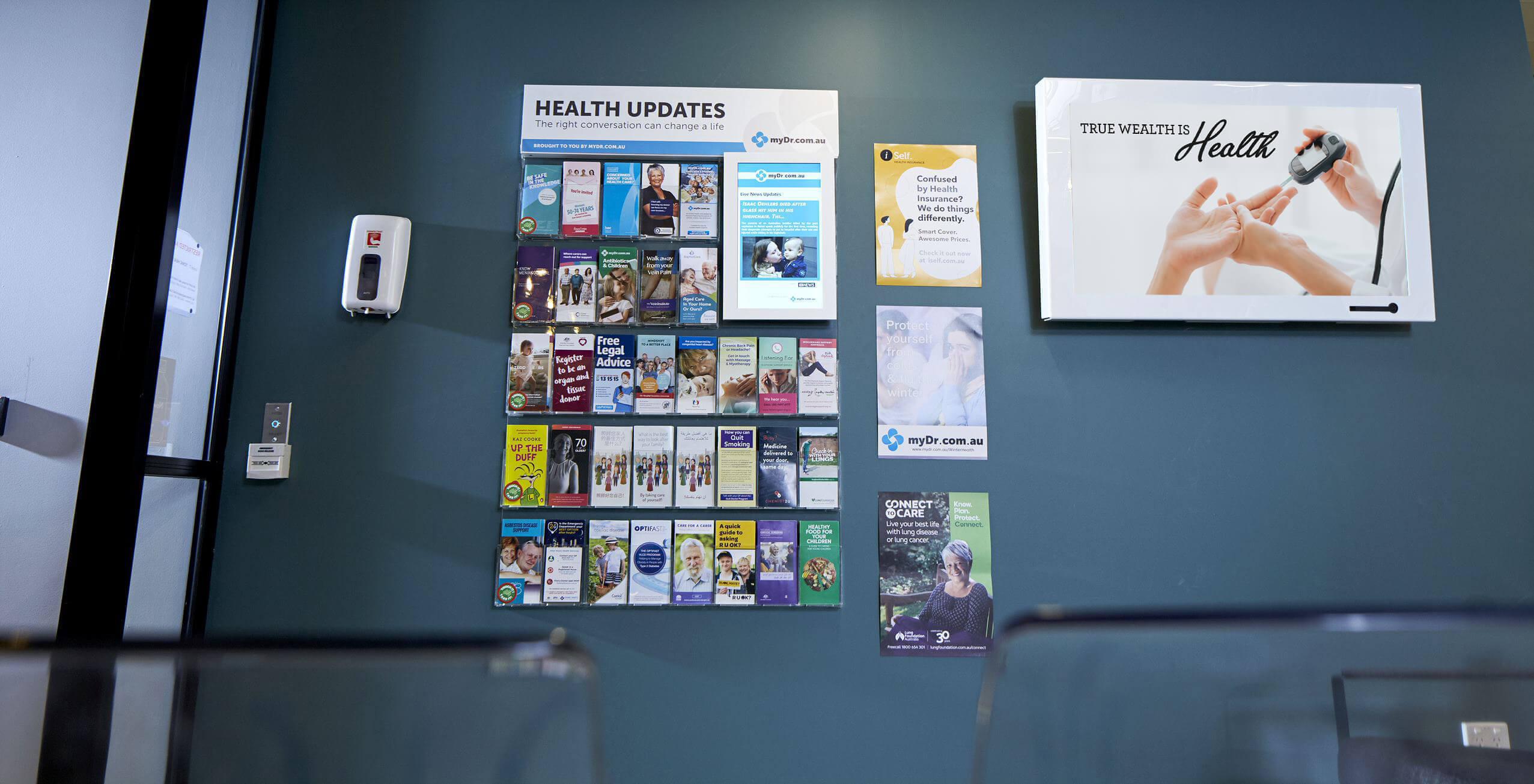 Tonic Media screen inside of a GP waiting room