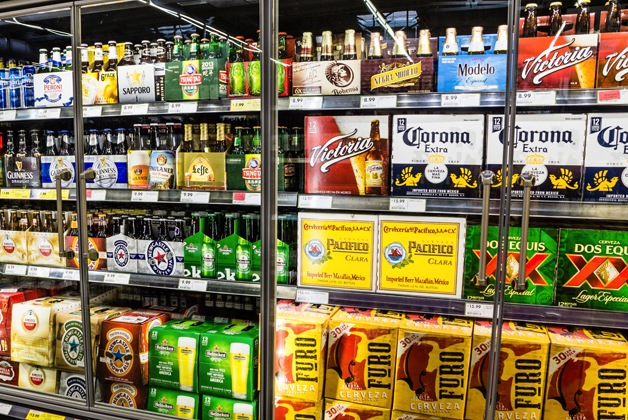 Alcohol section in a grocery store