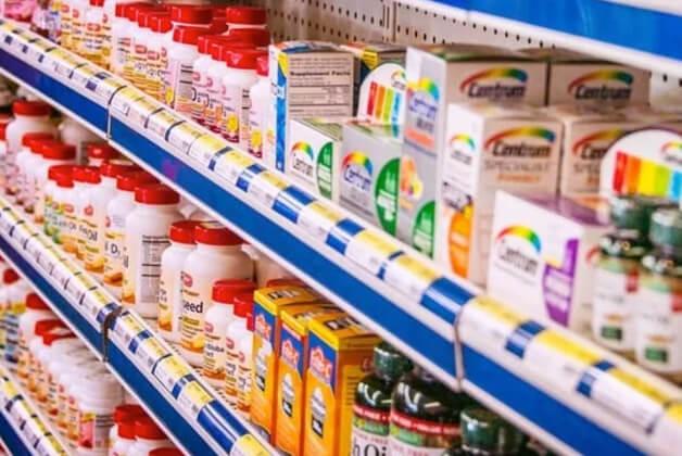 Medicine aisle in pharmacy