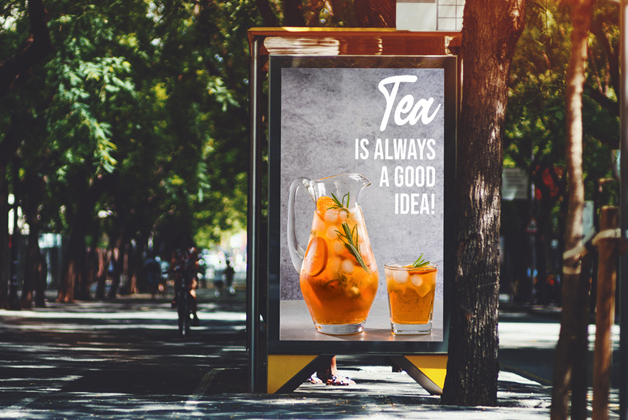 DOOH urban panel with tea advertisement