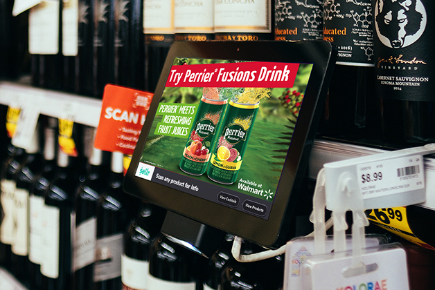 Point of purchase screen with Nestle Perrier Fusions ad